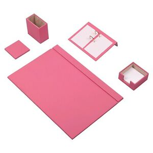 Desk Set 5 Accessories Pink Leather Free Shipping Hand Made