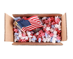 Funpak Packing Peanuts Red White Blue Stars 1 5 Cu Ft Compostable Biodegradable