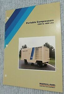 Old 1989 Ingersoll Rand Portable Air Compressor 1300 1600 Cfm Brochure Free S h