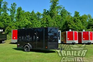 New 6x12 6 X 12 V nose Enclosed Cargo Trailer W Ramp Black Out Package