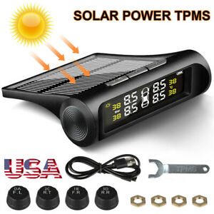 Solar Wireless Tpms Car Tire Tyre Pressure Monitoring System W 4 Internal Sensor