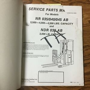 Yale Nr 035 040 045ab Ndr030 Service Parts Manual Book Electric Reach Lift Truck