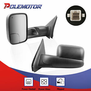 Left Right Power Heated Tow Mirrors For 02 08 Dodge Ram 1500 03 09 2500 3500