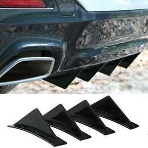 4pcs Universal Lower Rear Body Bumper Diffuser Shark Fin Kit Abs Spoiler Black