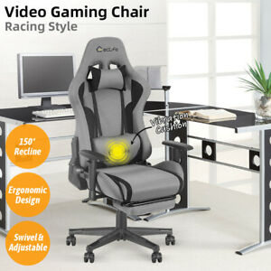 Gaming Racing Chair Office Computer Desk Seat Recliner Footrest Swivel Vibration