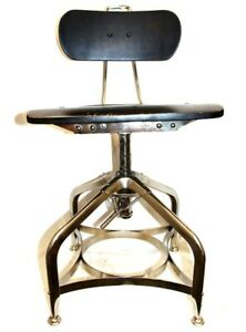 Vintage Wooden Drafting Chair Stool Metal Legs Wood Seat
