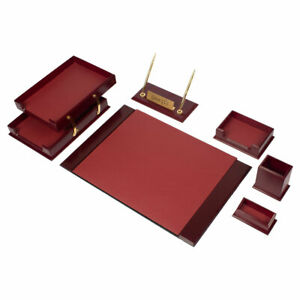 Desk Set Prestige Leather Wood Desk Set 8 Accessories Burgundy Free Shipping