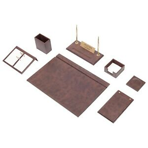 Desk Set 9 Accessories Brown Leather Free Shipping Hand Made Personalized