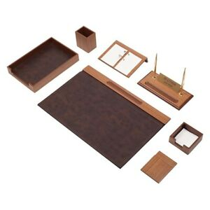Desk Set 10 Accessories Brown Leather Free Shipping Hand Made Personalized