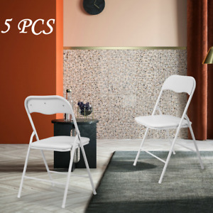 5 Pack Plastic Folding Chairs W Soft Padded Seats For Wedding Event Bbq Party