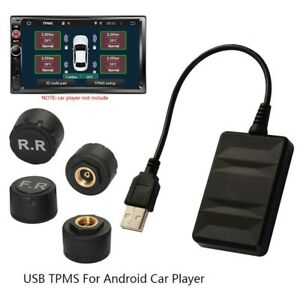 Tpms Wireless Car Tire Pressure Monitor System For Android 4 External Sensors