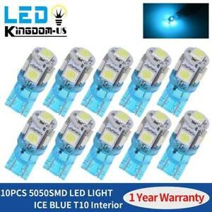 10x Ice Blue T10 Led Bulbs Car Interior Map License Light 2825 192 194 5050 5smd
