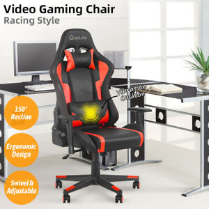 Gaming Racing Chair Office Computer Desk Recliner Adjustable Swivel Massage Red