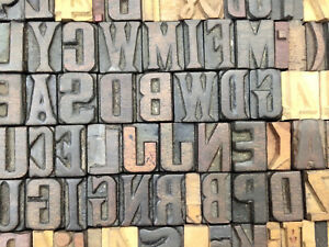 Vintage Letterpress Wooden Wood Alphabets Printing Type Blocks 107 Pcs 21mm lb18