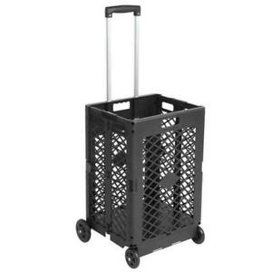 4 Wheels Mesh Rolling Utility Cart Folding Collapsible Hand Crate 55 Lbs Capacit