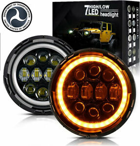 Pair 7 Inch Round Led Headlights Black Hi lo For Chevy C10 Camaro Pickup Truck