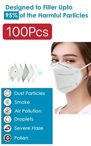 100 Pack Kn95 Protective 5 Layer Face Mask Bfe 95 Pm2 5 Disposable Respirator