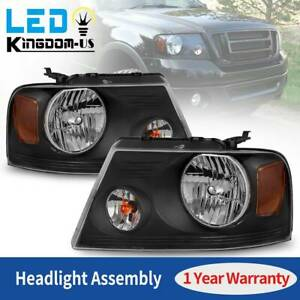 Headlights Assembly For 2004 2008 Ford F 150 F150 Black Housing Clear Lamps Pair