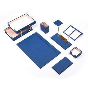 Desk Set 10 Accessories Blue Leather Free Shipping Hand Made