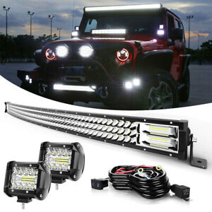 50 Inch Tri row Led Light Bar Flood spot Combo Fit For Jeep Wrangler Jl Yj Tj Jk