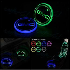 2pcs Colorful Led Car Cup Holder Pad Mat Coaster For Gmc Auto Atmosphere Lights