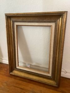 Vtg Wood Wooden Mid Century Picture Frame Made In Mexico With Glass Gold