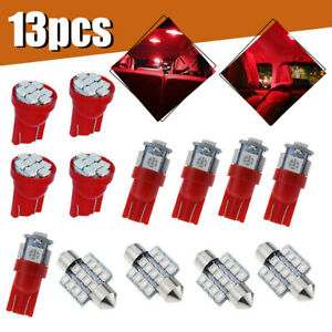 13pcs Red Car Led Lights Interior Package Kit For Dome License Plate Lamp Bulbs