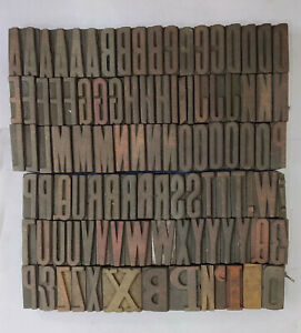 Vintage Letterpress Wood wooden Printing Type Blocks Alphabets 101 Pcs 40mm lb7