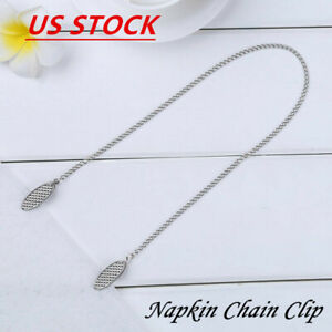 Bib Clip Napkin Clasp Zinc Alloy Apron Collar Chain Holder Elderly Adult Baby Us
