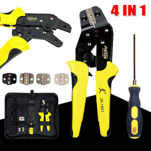 Crimping Tool Kit Wire Connectors Ratcheting Crimper Plier Terminal For Electric