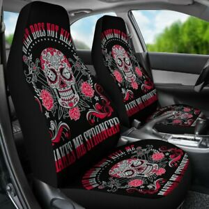 Set Of 2 Sugar Skull Flower Skull Flower Car Seat Cover Sugar Skulls