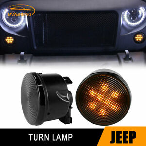 Led Turn Signal Front Grill Marker Lights Smoke Lens For Jeep Wrangler Jk 07 17