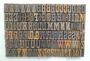 Vintage Letterpress Wood wooden Printing Type Blocks Typography 112 Pc 39mm lb48