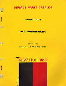 New Holland 402 Hay Conditioner Parts Manual