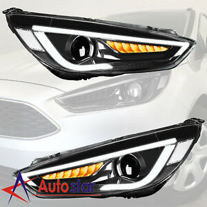 2pcs For 2015 2016 2017 Ford Focus Headlight Led Drl Halo Projector Lamp Lh rh