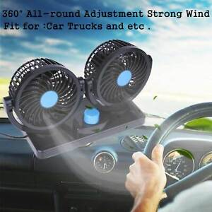 12v 360 rotation Car Vehicle Cooling Air Fan Silent Cooler 2 Speed Adjustable Us