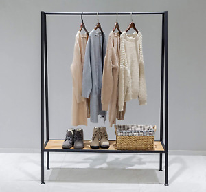 Wgx Design For You Industrial Pipe Clothing Garment Rack With Solid Wood Bottom