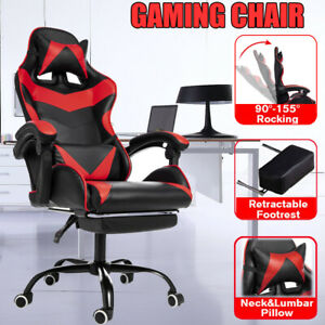 Gaming Chair With Adjustable Lumbar Pillow Ergonomic Computer High back Footrest