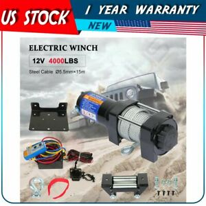For 2018 2020 Jeep Utility 12v 4000lb Electric Winch Tow Towing Steel Cable