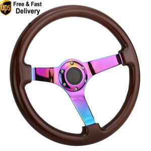 14 Wooden Steering Wheel Wood Deep Dish Corn Neochrome Spoke Universal 350mm