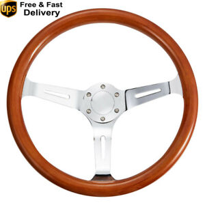 380mm Classic 15 Wooden Steering Wheel Chrome Spoke 50mm Deep Dish Silver New