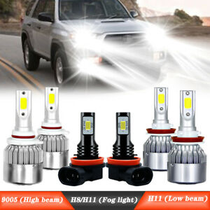 For Toyota 4runner 2007 2008 2019 Led Headlight Kit Hi lo Beam Fog Light Bulbs