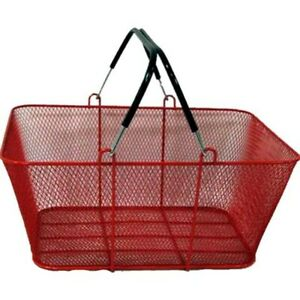 Perforated Metal Shopping Grocery Basket With Vinyl Handles Red