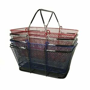 Perforated Metal Shopping Grocery Basket With Vinyl Handles Silver