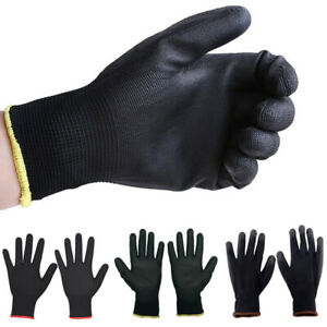 1 12 Pairs Pu Nitrile Coated Safety Work Gloves Builders Garden Grip S m l Lot