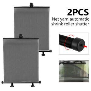 2pcs Retractable Car Auto Side Window Baby Sun Shield Cover Roll Curtain Visor