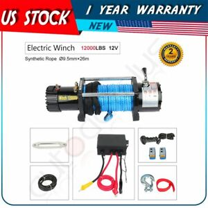 Fit For 2015 17 Jeep Utility 1pcs 12000lb Electric Winch W Remote Synthetic
