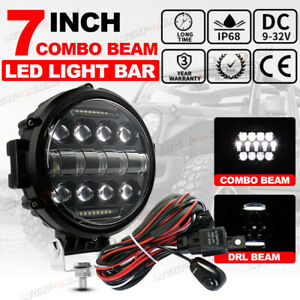 7 Inch Round Led Work Lights Drl Spot Pods Driving Fog Offroad Truck 4wd wire