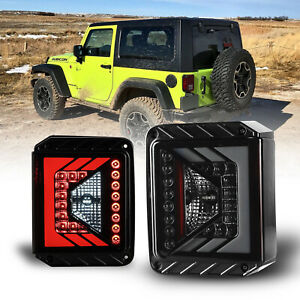 Led Tail Lights For 07 18 Jeep Wrangler jk Assembly Rear Lamps Pair Black smoke
