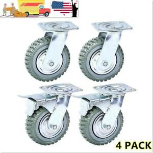 4pcs Heavy Duty Industrial Rubber Caster Wheels 8 360 Swivel Ball Bearing Usa